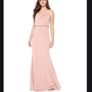 BHLDN JENNY YOO Sabine Draped Crepe Gown sz 2